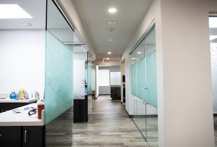 Hallway to dental treatment areas