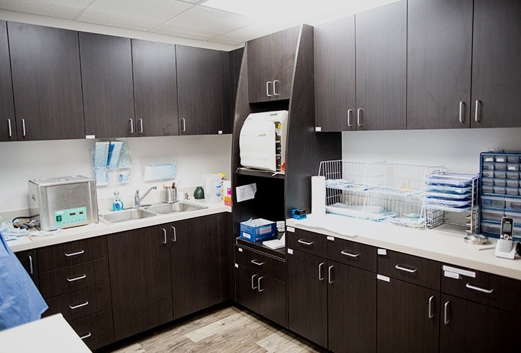 Dental office lab and storage area